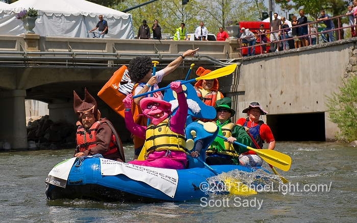 Costumed cereal heroes during the charity raft race at the Reno River