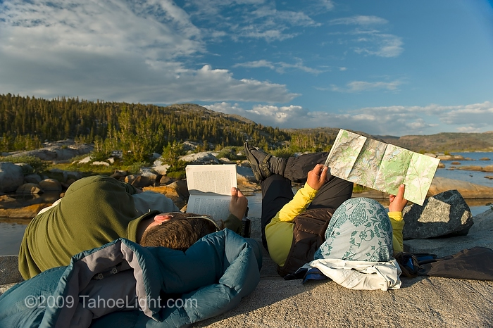 Catching up on some reading and route planning near sunset at Thousand Island lake at the base of Banner peak in the Ansel Adams wilderness. This was day 1 of a 4 day cross country route that was a version on the popular Minaret Lake-Thousand Island Lake loop.