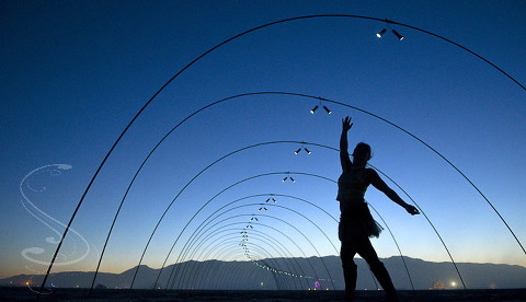 Monique dancing inside a wonderful tube of light and shape at sunset on the playa. My wife threw away our booklet accidentially when we got back, so I don't have the proper names for all these art installations. If anyone has them, please leave them as a comment so I can give credit where credit is due.