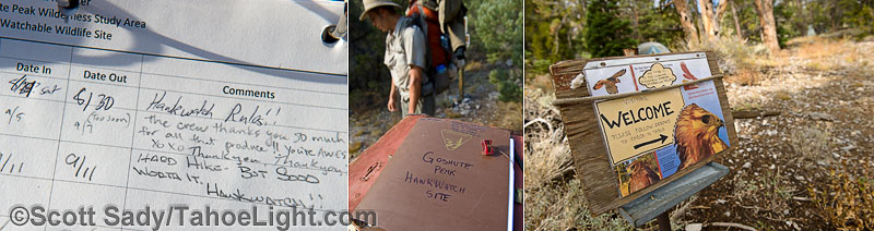 A trail log and signs greet visitors as they enter the wilderness area and make their way up the trail to the Hawkwatch International raptor research station in the Goshute mountains of eastern Nevada.