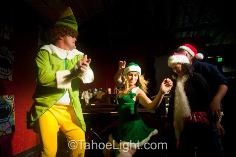 Dancing it up inside the West Street Market during the Reno Santa Crawl.