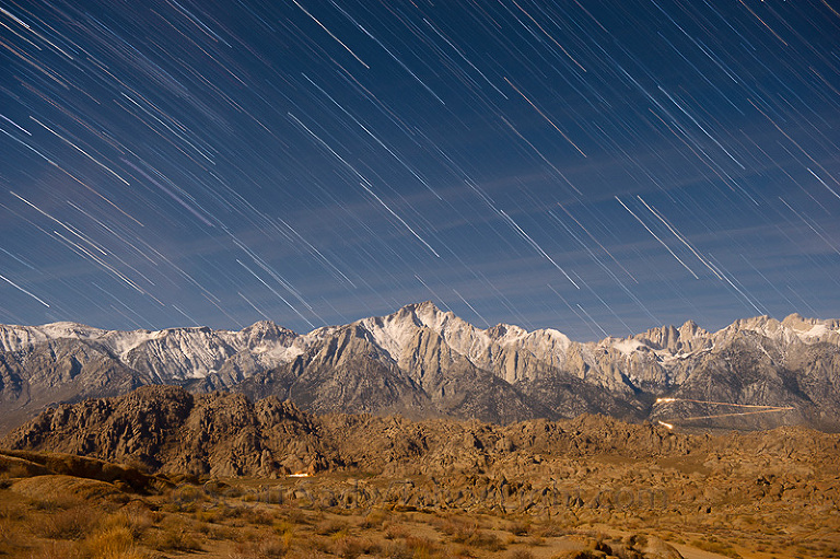 star trails over mt whitney