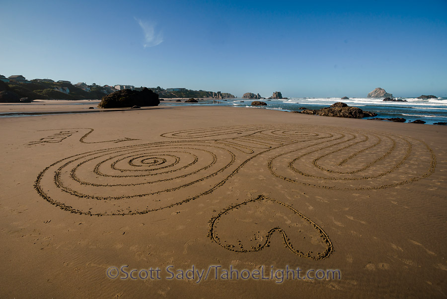 Elaborate sand labyrinth on Bandon Beach made often times by a fellow named Denny Dyke are striking and beautiful