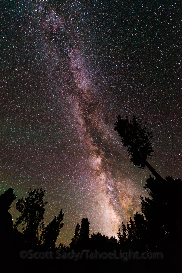 Milky Way galaxy rising through the forest at Saddlerock Lake just below Bishop Pass in the High Sierra mountain range in California.