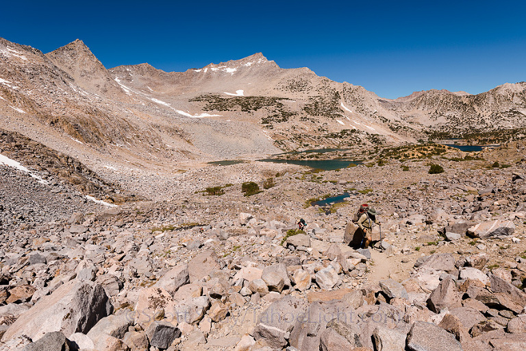 Backpacking into the Dusy Basin in the High Sierra mountain range in California.