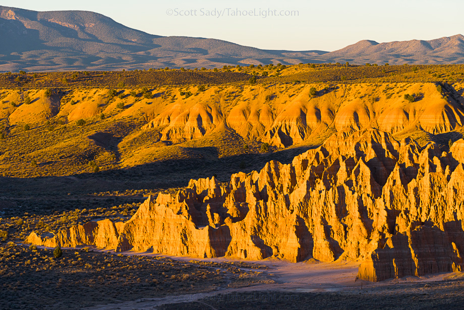 Sunrise over Rock formations in Cathedral Gorge state park in South Eastern Nevada, USA.