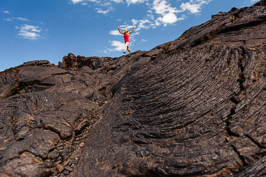 Crossing giant fields of lava on our cross-country trek to find Kiholo Bay and the sea turtles