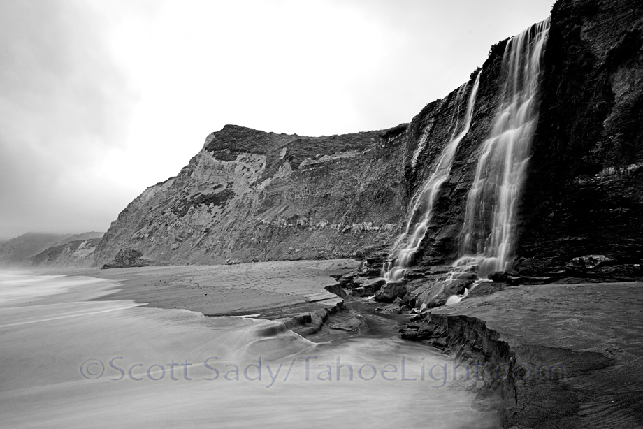 Alamere falls in Point Reyes national seashore 50 miles north of San Francisco, California is a wonderful 4 mile hike that ends in a waterfall that spills onto a secluded beach.