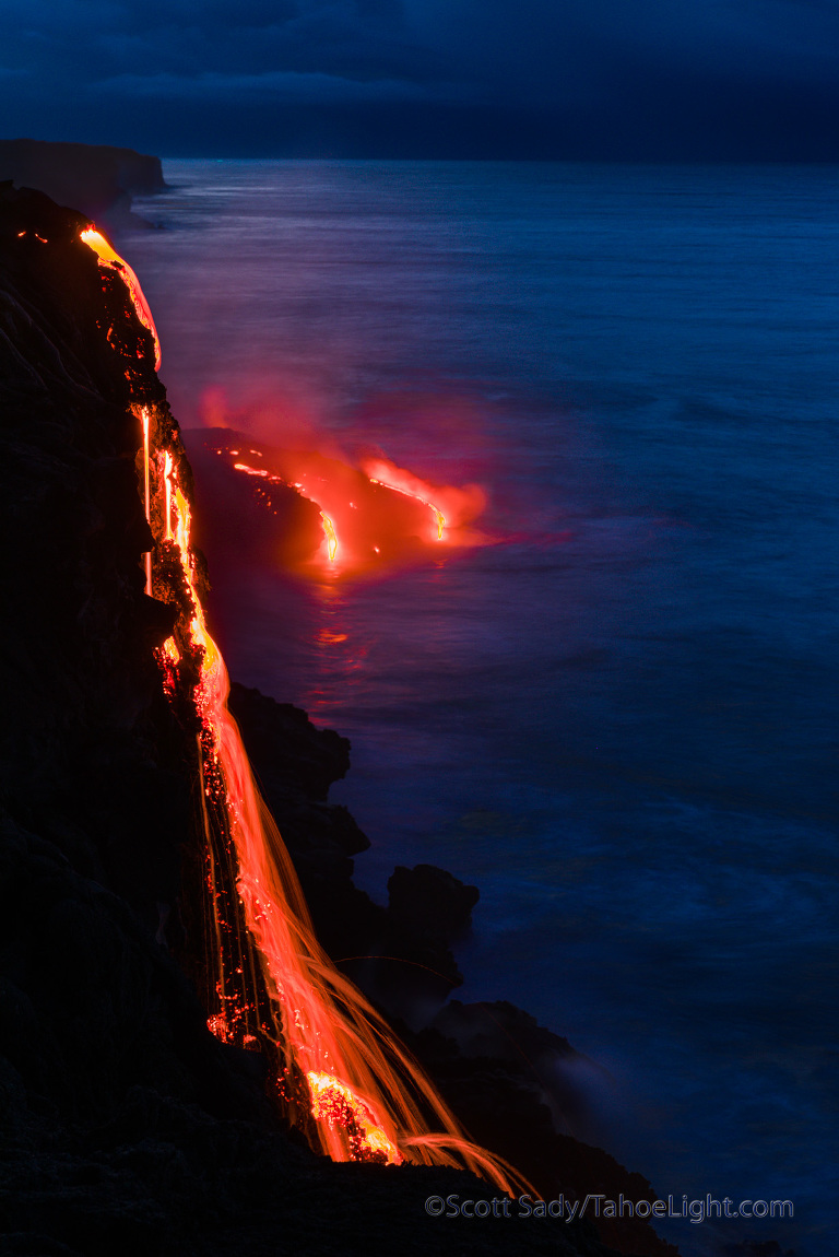 Lava flows into the ocean from the Hawaii Volcano National Park side of the lava flow from the Kilauea volcano on the Big Island.