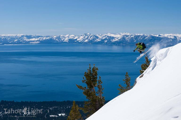 skier with lake tahoe in background
