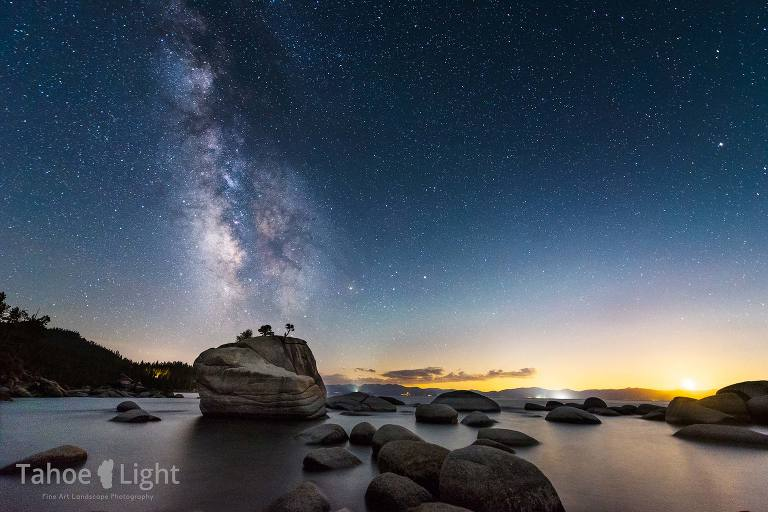 milky way over rocks at Lake Tahoe