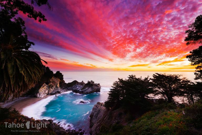 McWay falls at sunset over Pacific Ocean