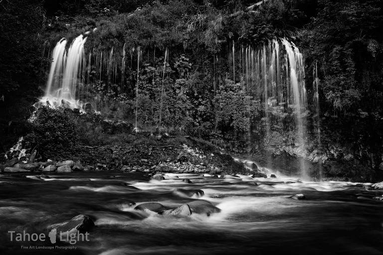 Black and white landscape photo of Mossbrae Falls