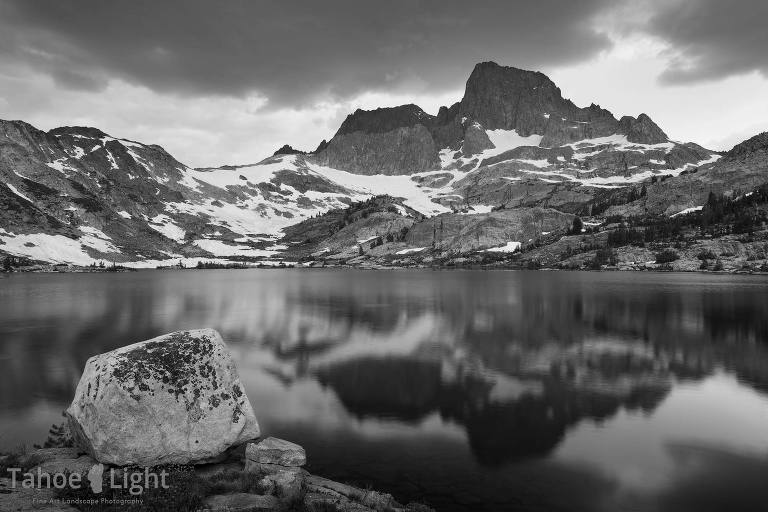 Black and white landscape photograph of garnet lake