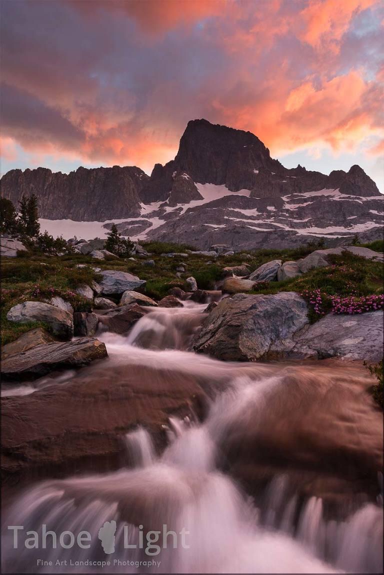 sunset at garnet lake in the high sierra