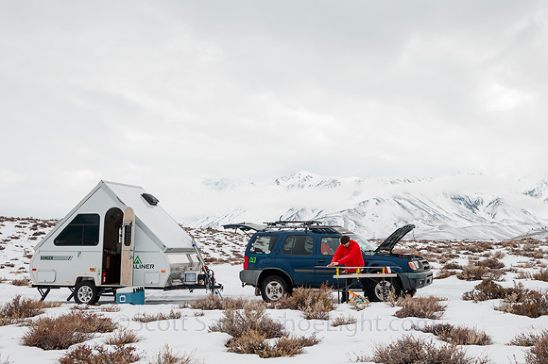 Snow camping near Mammoth Mountain in our new Aliner ...
